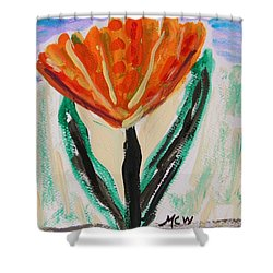 Shower Curtain featuring the painting Girl-flowers From The Flower Patch by Mary Carol Williams