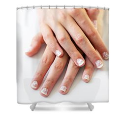 Girl Hands Shower Curtain by Carlos Caetano