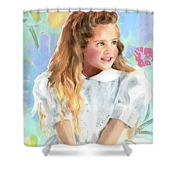 Shower Curtain featuring the painting Girl In A White Lace Dress  by Greta Corens