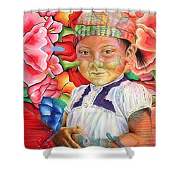 Girl In Flowers Shower Curtain by Karina Llergo
