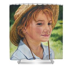 Girl In Straw Hat Shower Curtain
