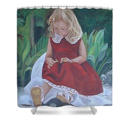 Girl In The Garden Shower Curtain