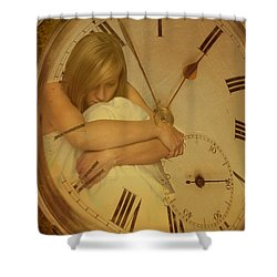 Girl In White Dress In Pocket Watch Shower Curtain by Amanda Elwell
