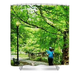 Girl Jogging With Dog Shower Curtain by Susan Savad