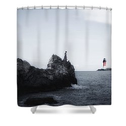 Girl On Cliffs Shower Curtain by Joana Kruse