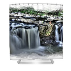 Girl On Rock At Falls Shower Curtain by Dan Friend