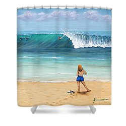 Girl On Surfer Beach Shower Curtain by Jerome Stumphauzer