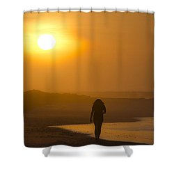 Girl On The Beach  Shower Curtain by Bill Cannon