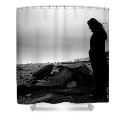Girl On The Beach Shower Curtain