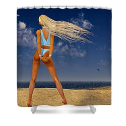 Girl On The Beach... Shower Curtain