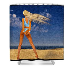 Girl On The Beach...watercolor Effected Shower Curtain