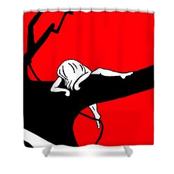 Girl On The Tree Of Time Red Shower Curtain
