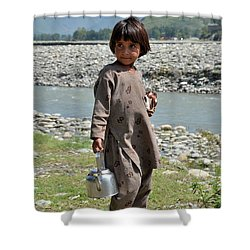 Girl Poses For Camera  Shower Curtain by Imran Ahmed
