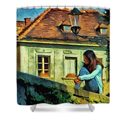 Shower Curtain featuring the painting Girl Posing On Stone Wall by Jeff Kolker