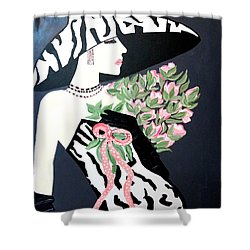 Girl That Loves Pink  Art Deco Shower Curtain