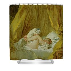 Girl With A Dog Shower Curtain by Jean Honore Fragonard