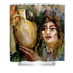 Shower Curtain featuring the painting Girl With A Jug. by Faruk Koksal