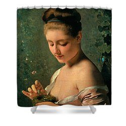 Girl With A Nest Shower Curtain by Charles Chaplin