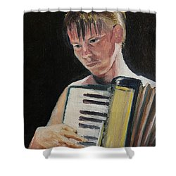 Girl With Accordion Shower Curtain