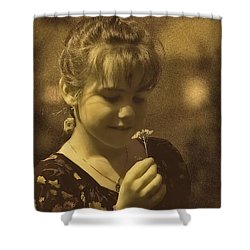 Girl With Flower Shower Curtain