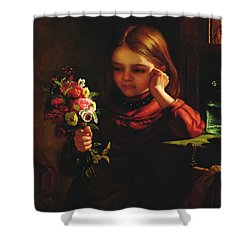 Girl With Flowers Shower Curtain by John Davidson