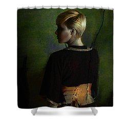 Girl With Green Background Shower Curtain
