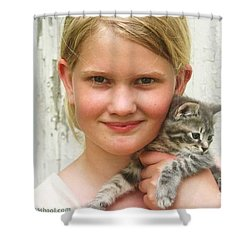 Girl With Kitten Shower Curtain