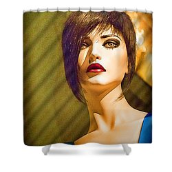 Girl With The Blue Dress On Shower Curtain