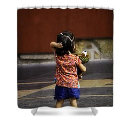 Girl With Toy Dog Shower Curtain by Mary Machare
