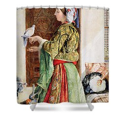 Girl With Two Caged Doves, Cairo, 1864 Shower Curtain by John Frederick Lewis