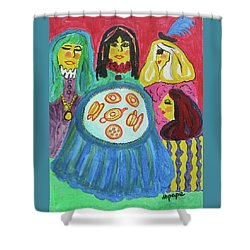 Shower Curtain featuring the painting Girlfriends by Diane Pape