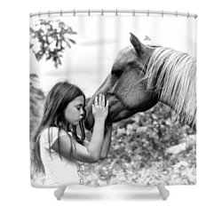 Girls And Their Horses Shower Curtain by Eleanor Abramson