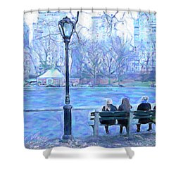 Girls At Pond In Central Park Shower Curtain