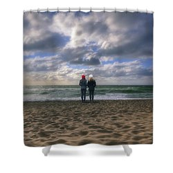 Girls On The Beach Shower Curtain by Joana Kruse