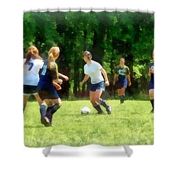 Girls Playing Soccer Shower Curtain