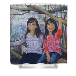Shower Curtain featuring the drawing Girls Upon The Tree by Viola El