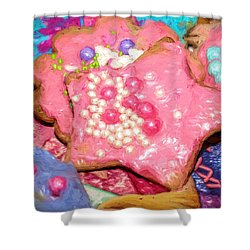 Shower Curtain featuring the painting Girly Pink Frosted Sugar Cookies by Tracie Kaska