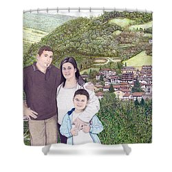Shower Curtain featuring the painting Giusy Mirko And Simone In Valle Castellana by Albert Puskaric