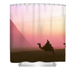 Giza Pyramids Egypt Shower Curtain by Panoramic Images