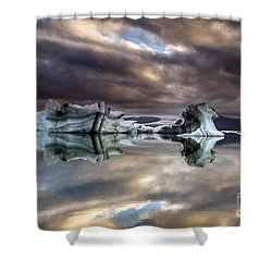 Glacier In Water Shower Curtain