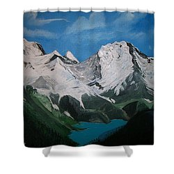 Shower Curtain featuring the painting Glacier Lake by Sharon Duguay