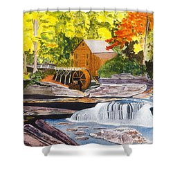 Glade Creek Grist Mill Shower Curtain by David Bartsch