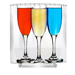 Glass Cups And Colorful Drinking Liquid Art Shower Curtain by Paul Ge