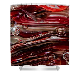 Glass Macro Abstract - Crimson And Gray V Shower Curtain by David Patterson