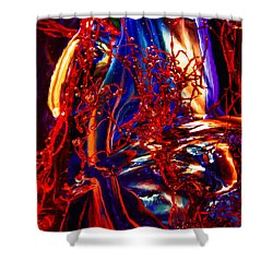 Glass Macro Abstract Flames Shower Curtain by David Patterson