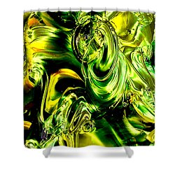 Glass Macro Abstract - Greens And Yellows Shower Curtain by David Patterson