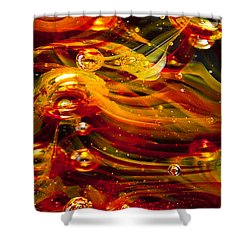 Glass Macro Abstract - Molten Fire Shower Curtain by David Patterson