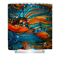 Glass Macro Abstract Rto Shower Curtain by David Patterson
