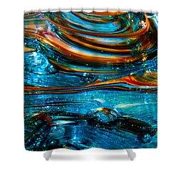 Glass Macro - Blue Swirls Shower Curtain by David Patterson