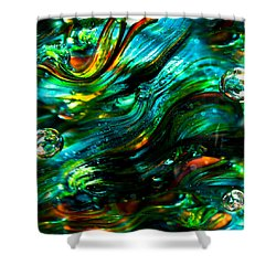 Glass Macro - Greens And Blues Shower Curtain by David Patterson